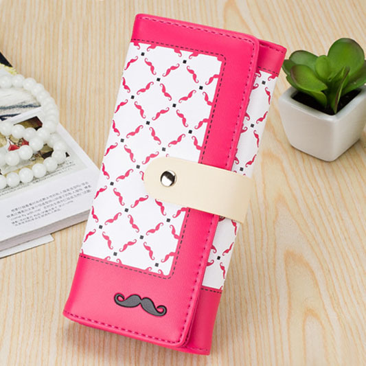 Fashion Brand Moustache women wallets high quality Soft PU leather lady hand bags woman hasp money clutch coin purse Hot wallet aidocrystal heart shape factory direct sell fashion woman diamond clutch for lady