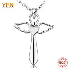 YFN Joyería de Las Mujeres 925 Collar de Plata Ángel Ala volante GNX8780 Corazón Cruz Colgante con Collar de Cadena de 18 pulgadas