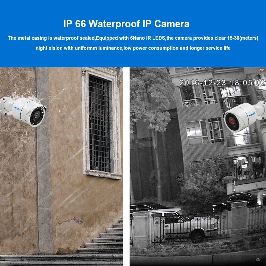 Smar H.265 système de caméra de sécurité 4CH 1080P POE NVR Kit 2.0MP métal caméra IP extérieure Kit de vidéosurveillance HDMI P2P alarme e-mail XMEYE 2 to - 4