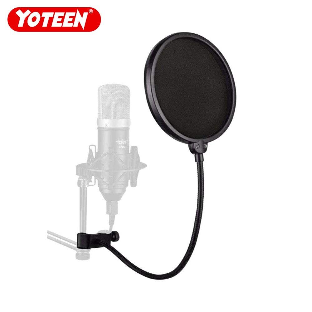 Profesyonel Mikrofon Pop Filtre Çift Örgü Ekran Cam Studio Esnek - Taşınabilir Ses ve Görüntü