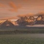 Mountains covered with snow  Teton Range  Grand Teton National Park  Wyoming  USA Poster Print (18 x 6)