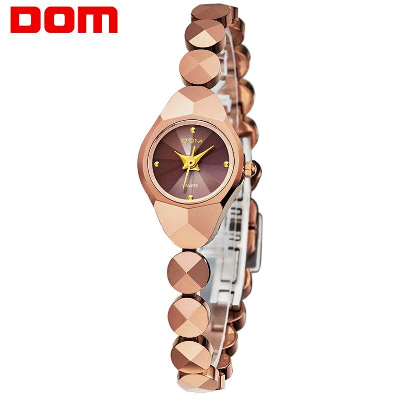 Women Watch Luxury Brand DOM Waterproof Quartz Wristwatch Tungsten Steel Gold Bracelet Women Ladies Clock Relojes Montre Femme dom women luxury brand waterproof style quartz watch tungsten steel gold nurse watch bracelet women