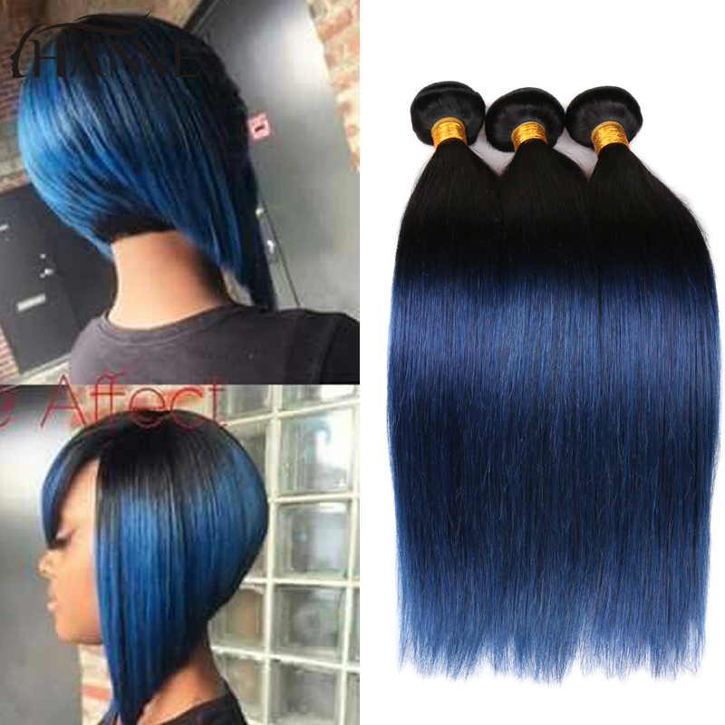 Malaysian Ombre Blue Human Hair Straight 4 Bundles Blue Ombre Weave