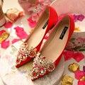 2017 Новый Дизайн Женская Мода Вышитые Свадебные Туфли Свадебные Красный Плоский Каблук Обувь Одного Мелкая Рот Горный Хрусталь Квартиры 35-43