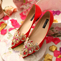 2017 New Design Women Fashion Embroidered Wedding Shoes Bridal Flat Heel  Red Single Shoes Shallow Mouth Rhinestone Flats 35-43