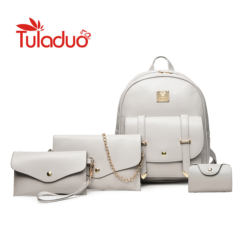 3 Set Women Backpacks Solid Fashion School Bag For Teenage Girls High Quality PU Leather Vintage