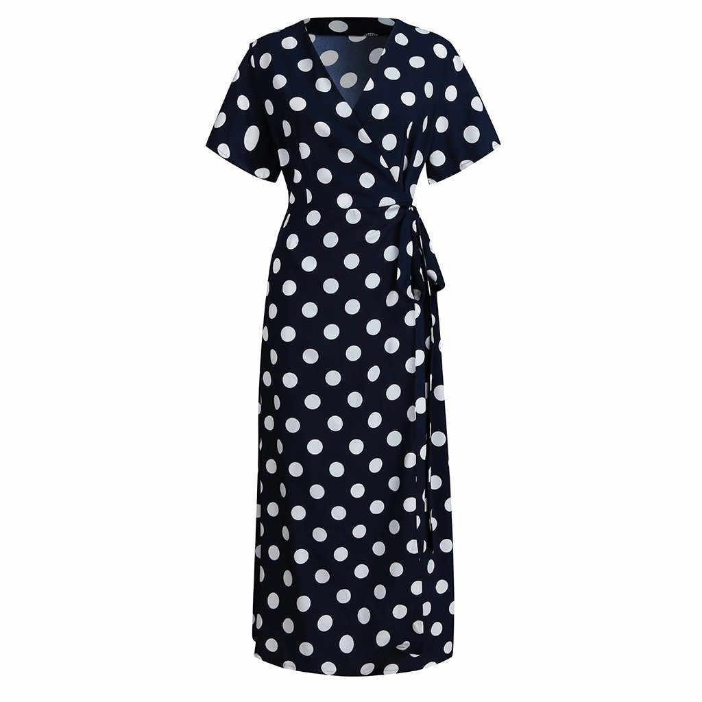 Plus Size Dress For Women Dot Printed Maxi Long Dresses Sexy V Neck Short Sleeve High Waist Vestidos With Belts Bohemian Dress