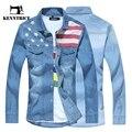 Kenntrice Otoño Bandera Americana de la Vendimia del Dril de algodón Hombres de la Camisa de Manga Larga Blusa de Moda Para Hombre Azul Claro Jeans Blusa Camisa Con Botton