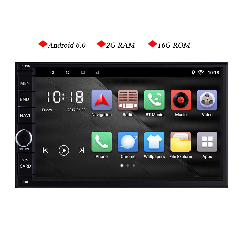 7 inch 2g RAM Android 6.0 Car Tap PC Tablet 2 din Universal For Nissan GPS Navigation car Radio Stereo with WIFI muticolor led