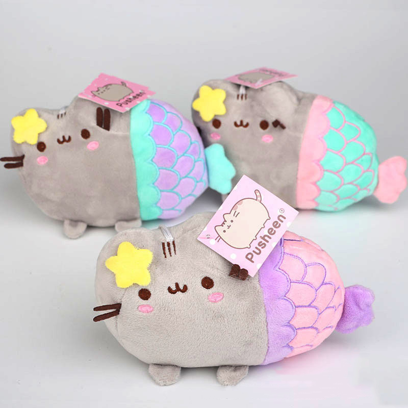 20cm Pusheen Cosplay Plush Toys Cartoon Pusheen Cat Cosplay Mermaid Plush Soft Stuffed Animals Toys Gifts for Kids Children fancytrader new style giant plush stuffed kids toys lovely rubber duck 39 100cm yellow rubber duck free shipping ft90122