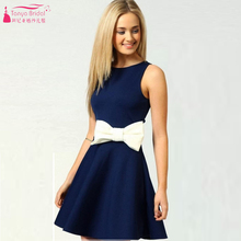 Dark Navy Homecoming Kleid Kurz/Mini Cocktailkleid mit weißen Bogen Günstige Homecoming kleid 2016 vestido de festa curto Z111