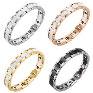 Image 2 - Moocare femmes hommes bracelet en acier inoxydable mâle femelle en céramique or argent couples magnétiques Germanium bracelets réglables