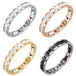 Image 2 - Moocare women men bracelet stainless steel male female ceramic gold  couples magnetic Germanium bracelets adjustable