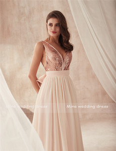 Image 5 - V neck Champagne Sequin and Chiffon Bridesmaid Dress with Huge Bow Back Open Back Wedding Party Dresses