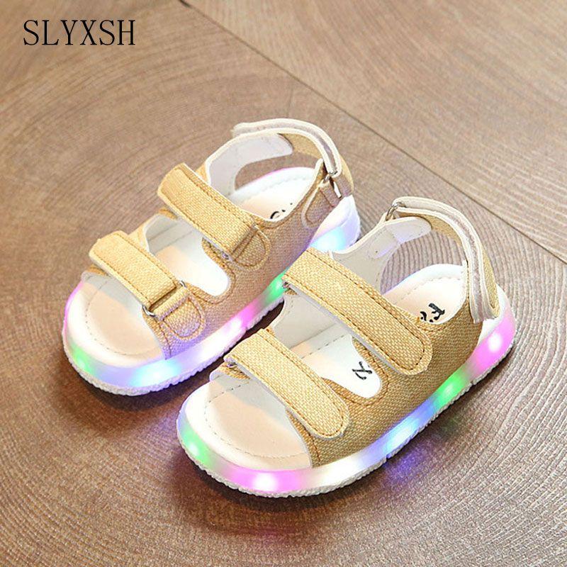 SLYXSH Male female child sandals boys girls sport sandals light led slip resistant children baby