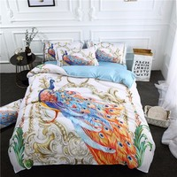 Exotic Splendid Peacock Printed Bedding Set Duvet Cover Set Bedclothes Reactive Printed Bed Set for Kids Adults 3/4 Pieces