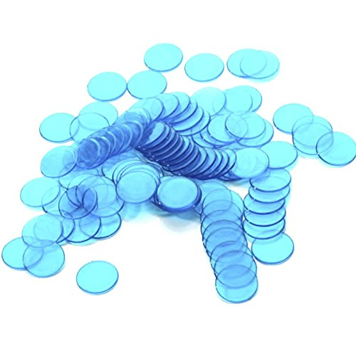 Approx.100Pcs 3/4 Inch Plastic Bingo Chips, Translucent Design, for Classroom and Carnival Bingo Games Blue ...