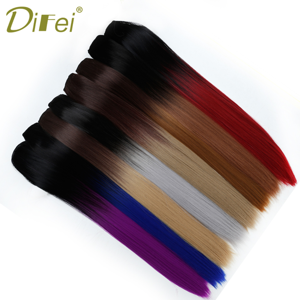 DIFEI 5 Clip In Long Straight Hair Hair Extensions Natural Ombre Hairpieces Heat Resista ...