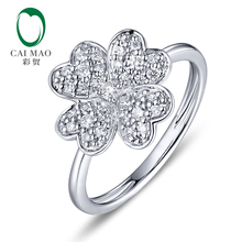 CaiMao 0.26ctw Natural Round F VS Diamond Engagement Ring Flower Shape 14K White Gold Wedding caimao jewelry natural red ruby with pearl and diamond engagement 14ct yellow gold pendant