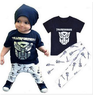 3ce7513f7 2019 new summer Cute Newborn clothes Baby Boys Kids short T-shirt Top Pants black  Baby Boys Clothing Outfit Clothes Set infant