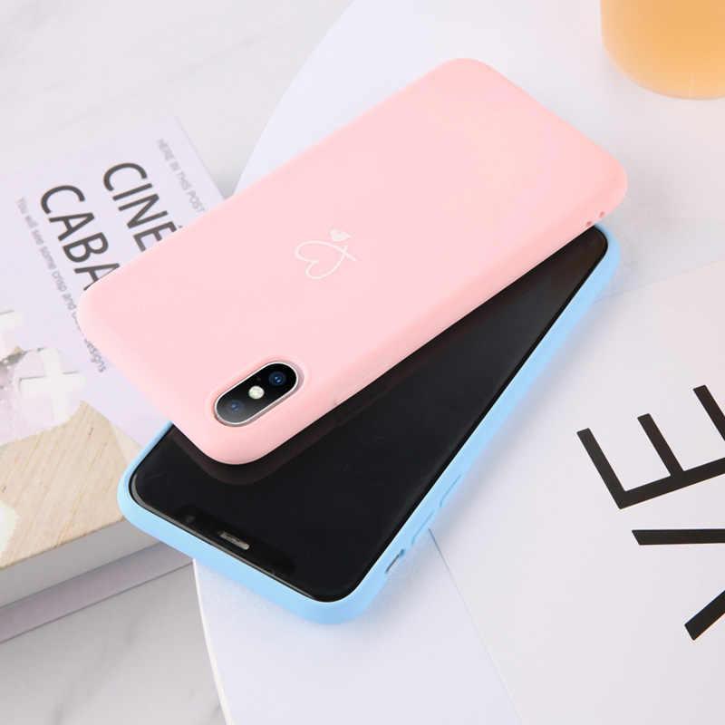 Lovebay renkli aşk kalp iphone için kılıf 6 6S 7 8 artı 11 Pro X XR XS Max 5 5s SE şeker renk telefon kılıfı yumuşak TPU arka kapak