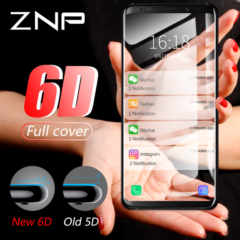Galleria fotografica ZNP Curved Full Cover Tempered Glass For <font><b>Samsung</b></font> <font><b>Galaxy</b></font> S9 S8 Plus Note 8 S7 S6 Edge S8 S9 Screen Protector Tempered Glass Film