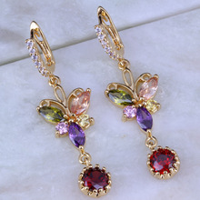 Love Monologue Vintage Multicolor Butterfly Imitation Peridot/Morganite/Crystal Yellow Gold Color Drop Earrings J0153