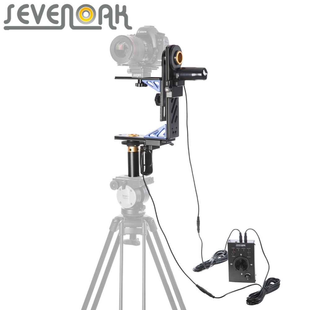 Sevenoak SK-ECH04 Electronic Motorized Pan & Tilt Gimbal Head Kit System with 20ft Remote Control for Canon Nikon DSLR Camera professional dv camera crane jib 3m 6m 19 ft square for video camera filming with 2 axis motorized head