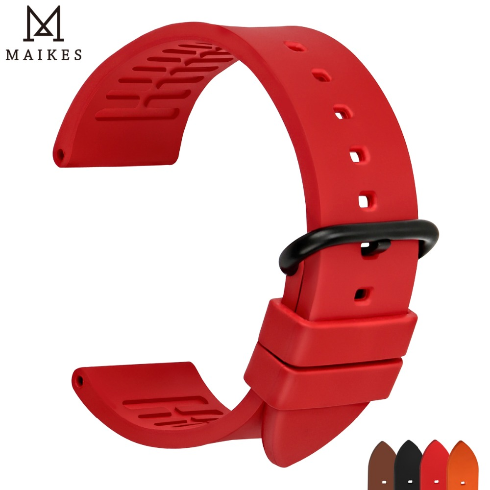 MAIKES New good quality watch accessories watchbands 22mm 24mm fluororubber bands rose red rubber sports strap