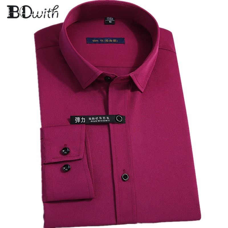 New Arrival Fuchsia ESolid Shirts For Men  Long Sleeved Shirt Male Social Business Dress Work Men Business Shirts  Formal 4XL