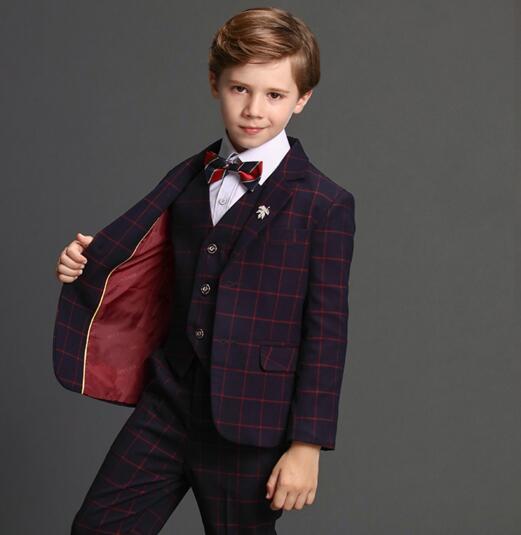 2017 autumn boys plaid wedding suit england style gentle boys formal suit for children prom tuxedos blazer sets