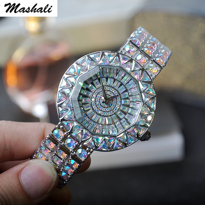 Mashali 2017 New fashion Women Stainless Steel Watch Lady Shining Dress Watch Big Diamond Wristwatches quartz Watch Clocks