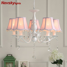 Nordic LED Chandelier With Fabric Lampshade For Living Room Blue pink Chandeliers Lighting Modern White Hanging Light Bedroom(China)