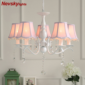 Image 1 - Nordic led kronleuchter mit stoff lampenschirm für wohnzimmer rosa decke kronleuchter beleuchtung moderne weiß anhänger lampe schlafzimmer