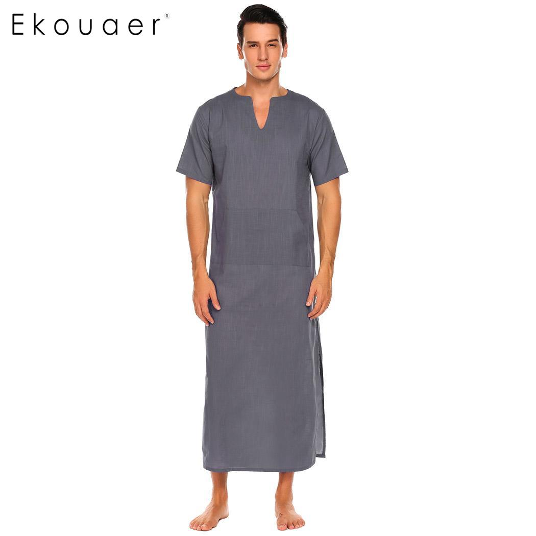 Ekouaer Mens 100% Cotton Nightshirts Sleepwear Short Sleeve Solid Side Split Notch Neck Long Pajama Nightshirt Casual Homewear