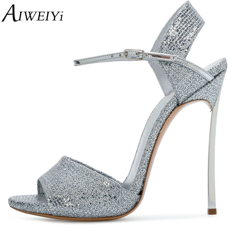 AIWEIYi Summer Shoes Woman Gladiator Stiletto Pumps Metal Heel High Heels Sandals Gold Silver Summer Shoes Sexy Ladies Shoes hee grand gold silver high heels 2017 summer gladiator sandals sexy platform shoes woman casual shoes size 35 43 xwz4075