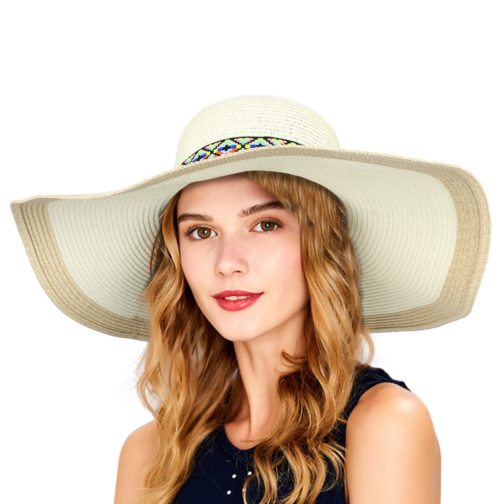 915fa8e5001 Vbiger Summer Women Straw Sun Hat Foldable Wide Brim Hat Floppy Hat  Portable Beach Straw Hat Outdoor Cap