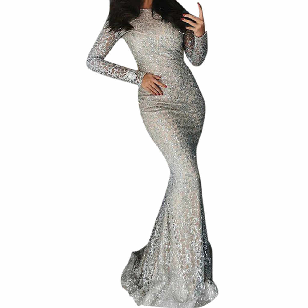 Feitong Sexy Silver Sequin Dress Womens Long Sleeve O-Neck Bodycon Dresses Ladies Cocktail Prom Gown Dress Vestidos De Festa