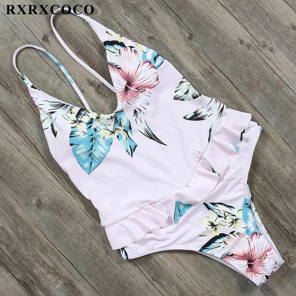 RXRXCOCO مثير ملابس النساء العميق الخامس الرقبة قطعة واحدة ملابس السباحة المطبوعة ثوب السباحة رفع الرسن لباس سباحة عارية الذراعين monkinis