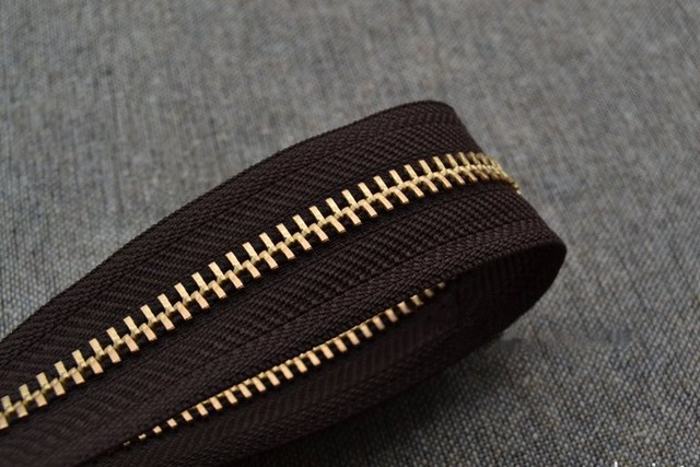 5 Zipper Coffee Fabric Cloth Bronze Teeth Gold Metal For Sewing 2m Lot