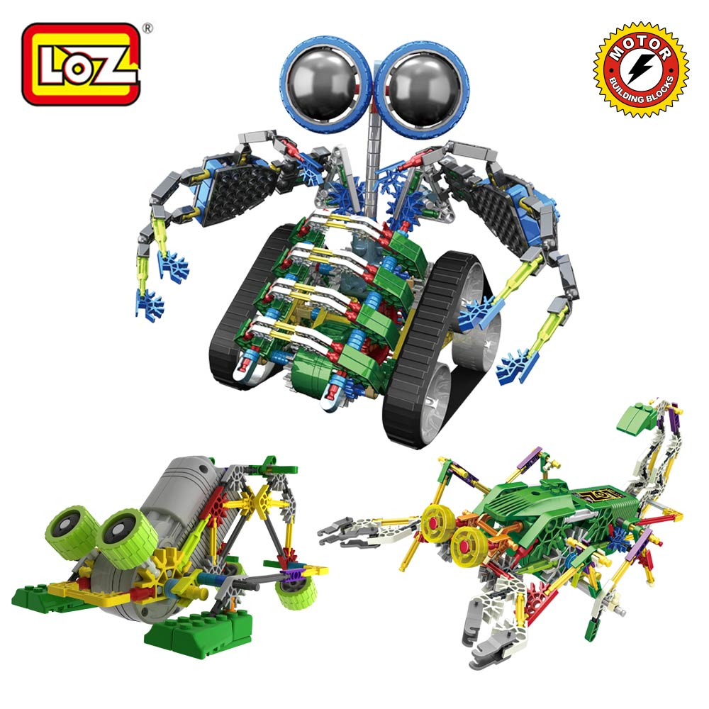LOZ Electrical Robot Motor Building Block Toys For Boys Gifts Assembly Bricks DIY Electric Walking Robots Engine Action Kids DIY manguera expandible