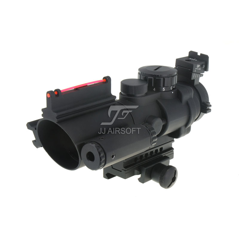 JJ Airsoft 4x32 Red & Green Illuminated Scope with Side Rail, Fiber Optics Sight and Red LaserJJ Airsoft 4x32 Red & Green Illuminated Scope with Side Rail, Fiber Optics Sight and Red Laser
