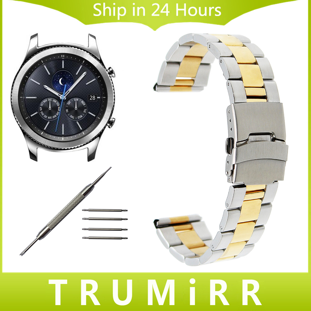 22mm Stainless Steel Watch Band for Samsung Gear S3 Classic Frontier Garmin Fenix Chronos Safety Buckle Strap Wrist Bracelet 26mm stainless steel watch band for garmin fenix 3 smart watch strap band for fenix 3 with tool gold silver black color