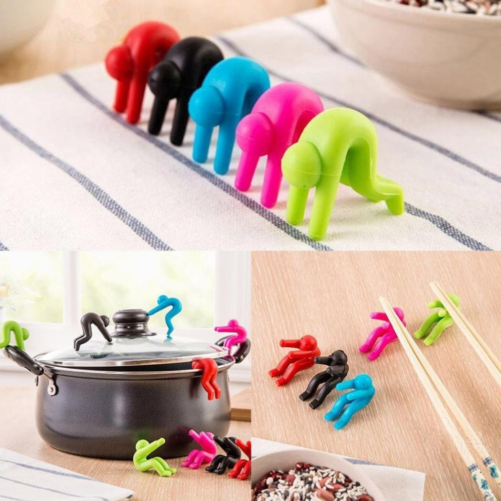 2pcs/set Multi-functional Silicone Pan Pot Clips Small Man Shape Lids Holder Home Kitchen Spill-proof Anti-overflowing Tool