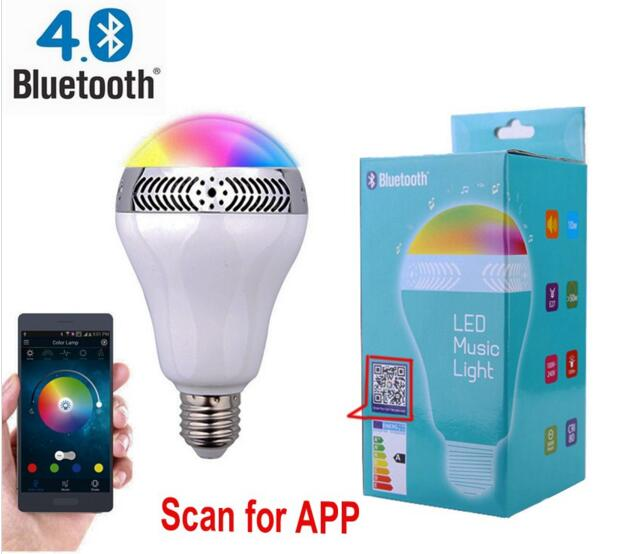 On promotion New technology wireless smartphone control APP led bluetooth speaker bulb E27 audio lamp rgb Xmas festival lighting