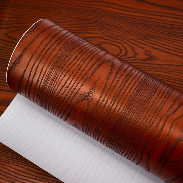 Red Sandalwood Sticker Waterproof Vinyl Self Adhesive Film Embossed - Contact paper for kitchen countertops