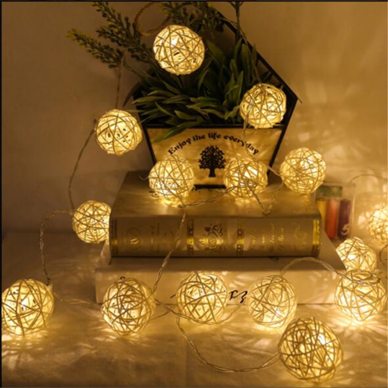 4M 20LED Rattan Ball LED String Lighting Christmas Light String For Wedding Party Decoration White/ Warm White