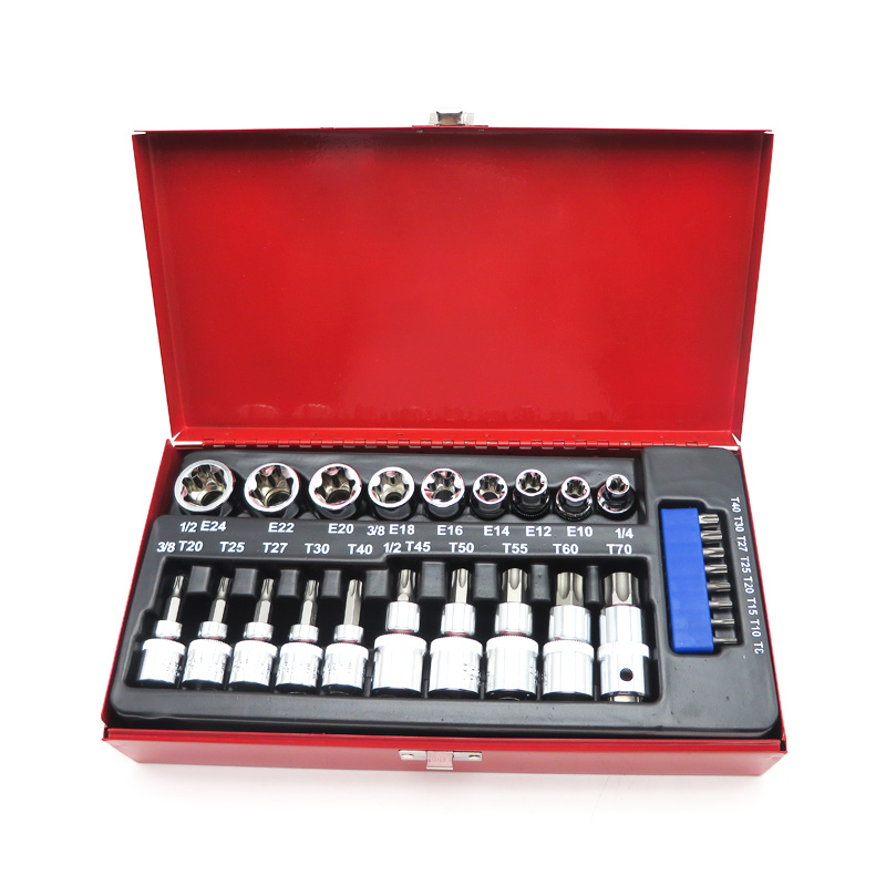 27pc Torx Star Socket Set Male Female E&T Sockets Wrench With Torx Bit Chrome Vanadium Manufacturing Tools mainpoint 1 4 1 2 3 8 e socket sockets set cr v torx star bit combination drive socket nuts set for auto car repair hand tool