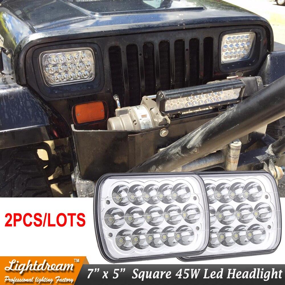 2 pièces 7x5 H6014 6052 6054 EN cristal chromé 45 W 7x6 LED SALUT/BAS PHARES CONVERSION Pour Chevrolet C2500 K2500 F250 F350 Super Duty