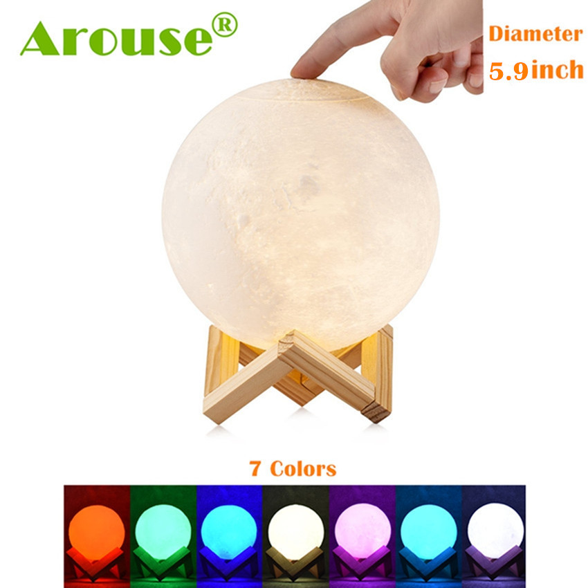 AROUSE Rechargeable 3D Print Moon Lamp 2 Color Change Touch Switch Bedroom Bookcase Night Light Home Decor Creative Gift